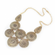 Round Hollow Ornaments Statement Bib Necklace, Antique Gold Colour Fashion Choker, Gift for Her