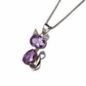 CYS Austria Amethyst Cat Pendant Necklace with 46cm Silver Box Chain, Mothers Day Birthday Anniversary Gifts for Women Girls Ladies Wife