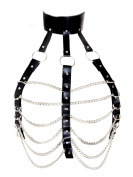 Honour Women's Metal Chest Harness in Leather Look Black