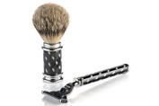 Vintage Shaving Mach 3 Razor and Badger with Grey Hair