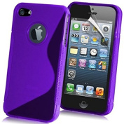 NWNK13® iPhone 4 / 4G / 4S . Purple Slim Design Soft Gel Back Case Cover With Mini Card Wallet & Screen Film