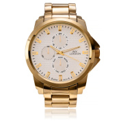NY London Men's Round Face Textured Dial Link Watch