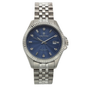 Men's Silvertone Stainless Watch with Blue Dial & Diamond Markers