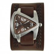 Nemesis Brown Oversized Teardrop Watch with Wide Brown Weaved Leather Cuff Band BWA011B