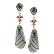 Dallas Prince Gold over Silver Hematite and White Sapphire Earrings