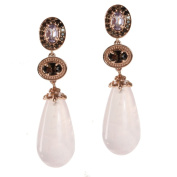 Dallas Prince Rose Gold over Silver Rose Quartz, Pink Amethyst and Smoky Quartz Earrings