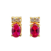 Collette Z Sterling Silver Cubic Zirconia Red Pear Studs