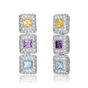 Collette Z Sterling Silver Cubic Zirconia Square Earrings With Stacked Design