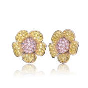 Collette Z Sterling Silver Pink and Yellow Cubic Zirconia Flower Earrings