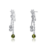Collette Z Sterling Silver Green and Clear Cubic Zirconia Two Strand Earrings