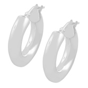 Fremada Sterling Silver 4-mm Round Polished Hoop Earrings