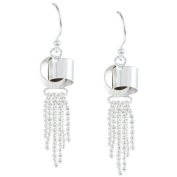 La Preciosa Sterling Silver Love Knot with Dangling Beads Earrings