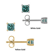14k Gold 1/4ct to 1ct TDW Blue Diamond Stud Earrings with Gift Box