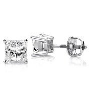 Luxurman Platinum 1/2ct TDW Solitaire Princess-cut Diamond Stud Earrings