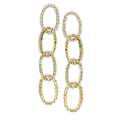Isla Simone - Four Layer Oval Crystal Earring in Assorted Colour
