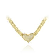 Icz Stonez 18k Gold over Sterling Silver CZ Heart Mesh Necklace