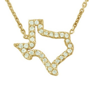 14k Gold 1/8ct TDW Outline Diamond State of Texas Open Necklace