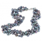 DaVonna Silver Black FW Pearl 3-row Twisted Necklace