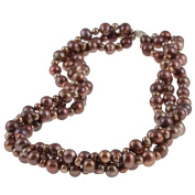 DaVonna Silver Chocolate FW Pearl 3-row Twisted Necklace