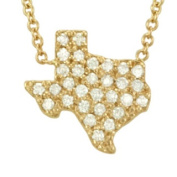 14k Gold 1/4ct TDW Pave Diamond State of Texas Necklace