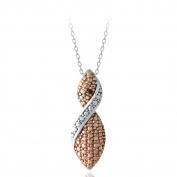 DB Designs Rose Gold over Sterling Silver Red Diamond Twist Necklace
