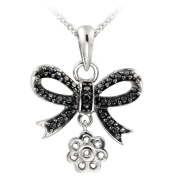 DB Designs Sterling Silver Black Diamond Accent Dangling Bow Necklace