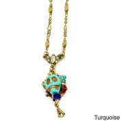 Sweet Romance Goldtone Skull and Crystal Teardrop Necklace