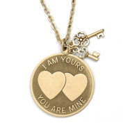 Sweet Romance Pewter 'I am Yours, You Are Mine' Necklace