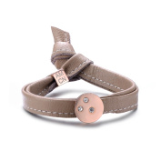 Alberto Moore 20cm Single Wrap Toasted Almond Leather with a Round Studded Circle Bracelet