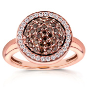 Annello 14k Rose Gold 5/8ct TDW Champagne Brown Diamonds Round Pave Tiered Halo Ring