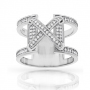 Sterling Silver Cubic Zirconia Micro Pave Fancy X Ring