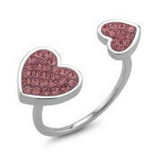 Rhodium-plated Brass Double Sided Heart Pink Preciosa Crystal Ring