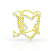 Yellow Gold over Silver Cubic Zirconia Micro Pave Iced Heart Ring