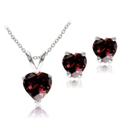 Glitzy Rocks Sterling Silver Heart Garnet Solitaire Earring and Necklace Set