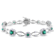 Miadora Sterling Silver Emerald and White Sapphire Flower Bracelet