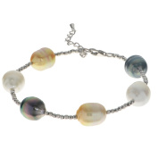 Pearls For You Sterling Silver Multiple Pearl Station Bracelet