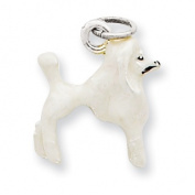 Sterling Silver Enamelled White Poodle Charm
