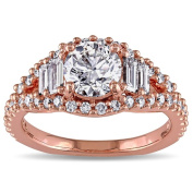 Miadora Signature Collection 14k Rose Gold 1 5/8ct TDW Round and Baguette Diamond Ring