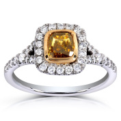 Annello 14k Two-tone Gold 1 2/5ct TDW Certified Cushion-cut Champagne Diamond Halo Ring