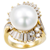 18k Yellow Gold Pearl and 2 1/4ct TDW Diamond Ballerina Estate Ring Size 6.5