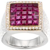 18k Yellow Gold and Sterling Silver 2/5ct TDW Diamond and Clustered Ruby Square Ring