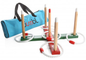 Jumbl Wooden Ring Quoits Game For Kids and Adults - Includes Wooden Ring Toss Target Rack, 5 Rings and Carry Bag