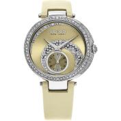 SO & CO New York Women's Madison Quartz Ivory Leather Strap Crystal Watch