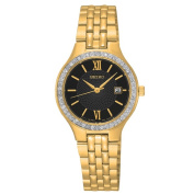 Seiko Women's SUR754 Stainless Steel Gold Tone Water Resistant Watch with. Crystals