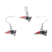 New England Patriots Sports Team Necklace and Dangle Earring Charm Set