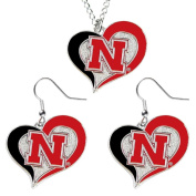 NCAA Charm Gift Nebraska Cornhuskers Swirl Heart Dangle Earring and Necklace Set