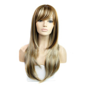 DENIYA Natural Long Straight Wigs with Bangs Full Wigs