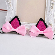 Great Deal 2PCS Cat Ear Hairpin for Kids Hair Clip,Pink