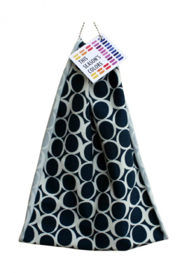 This Season's Colours' JERSEY HeadBANDS Spring/Summer Print: Navy Rounds. Worn on Head, Neck, Wrist or Ponytail