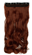 S-noilite® 24 Inches(60cm) Long Curly Auburn Ginger Half Full Head One Piece 5 Clips Clip in Hair Extensions Most Popular Style Hairpiece